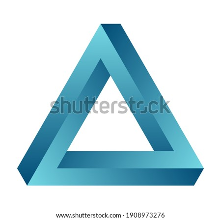 Impossible triangle. Eternal figure. Penrose optical illusion. Turquoise gradient endless triangular shape. Abstract infinite color geometric object. Isolated on white background. Vector illustration.