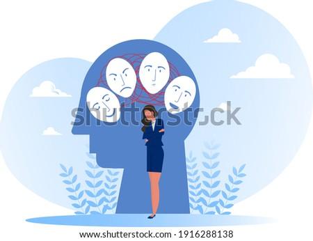 Imposter syndrome, masks with happy or sad expressions.Bipolar disorder, fake faces and emotions. Psychology, false behavior or deceiver.vector illustrator