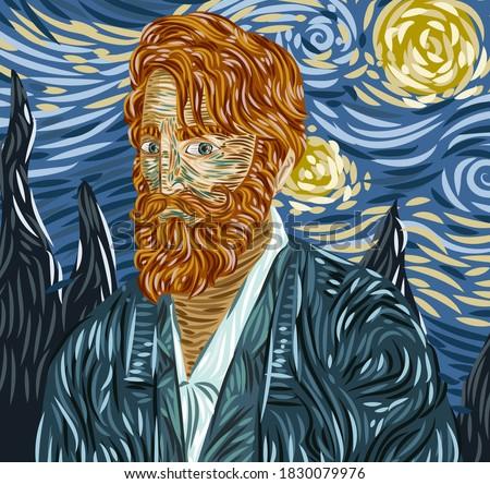 impressionist portrait of bearded redhead man