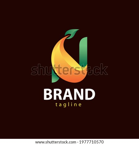 Impressive letter N design. a logo with a gradient logo style, this logo has a simple and elegant impression. This logo is the result of combining two forms, namely, the shape of the letter N and the  Foto stock ©