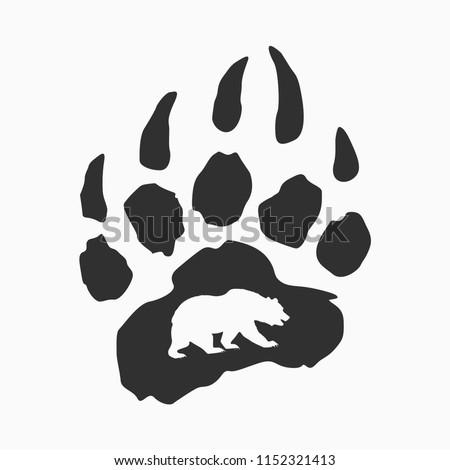 imprint of bear paw  vector