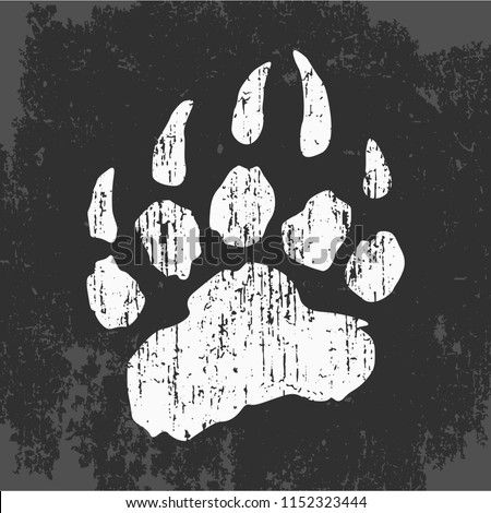 imprint of bear paw, vector illustration, web icon, stamp on clothes, stylish logo design, symbol of california, flat style