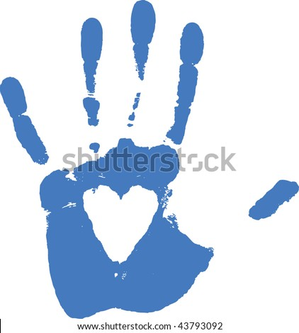 Imprint of hand - white heart are transparent -over any background