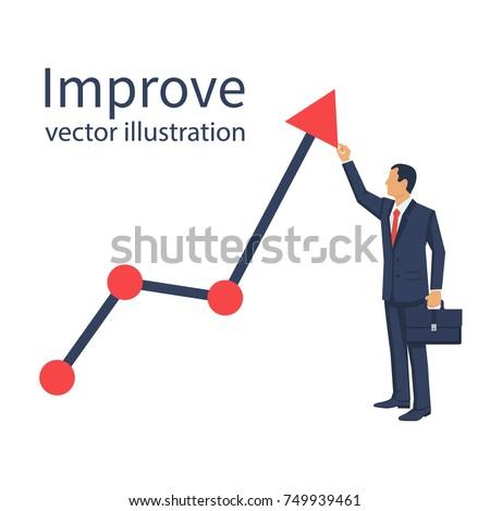 Improve business concept. Changing direction. Growth graph trade. Vector flat design. Profit Stock Market. Businessman raises schedule upwards. Man changing direction business chart. Financial diagram