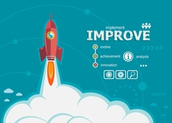 Improve design and concept background with rocket. Project Action plan concepts for web banner and printed materials.