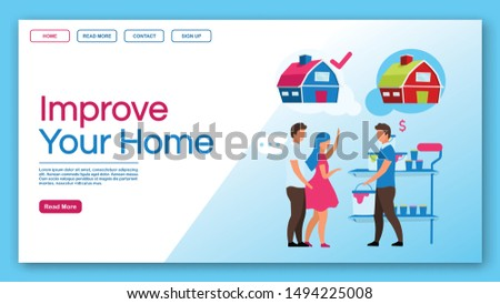 Improve your home landing page vector template. Home service and house reconstruction, apartment repair website, webpage. Couple choosing color for building painting cartoon characters
