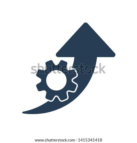 Improvement efficiency, productivity. Vector  icon gear wheel, arrow pointer . White background. Stockfoto ©