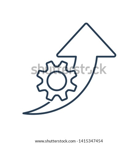 Improvement efficiency, productivity. Vector line icon gear wheel, arrow pointer . White background.
