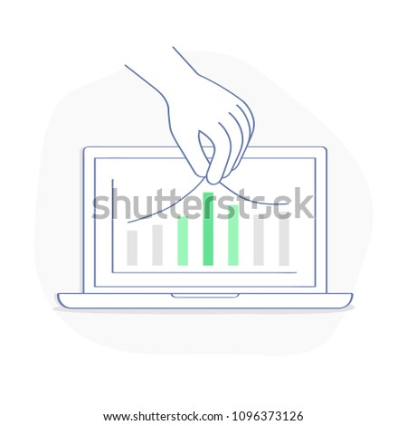 Improvement of indicators, maintaining efficiency, Increase in productivity, growth of graphs indicators on laptop display. Flat outline vector illustration of effectiveness, performance, potential.