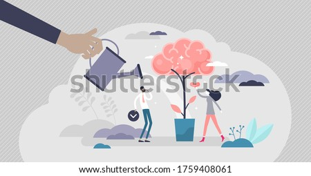 Improving memory for knowledge remember tiny persons vector illustration. Thinking method as personal mind development abstract visualization. Intelligence boost and information processing performance Stockfoto ©