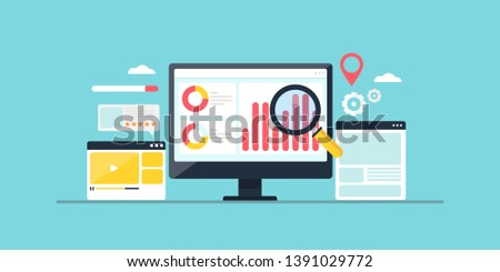 Improving ranking on search engine, Search engine traffic, Testing website SEO, flat design conceptual vector banner illustration