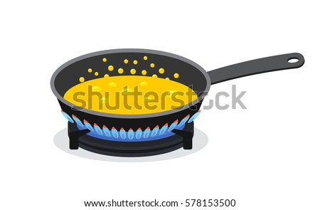 Shutterstock In a frying pan fried butter on the stove. flat vector illustration isolate on a white background