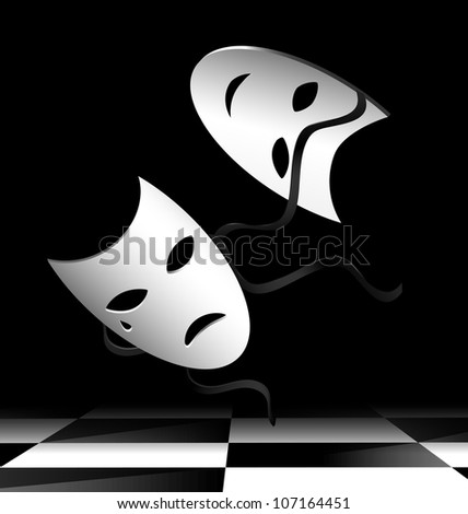 in abstract dark room are two flying white theatrical masks