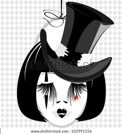 in an oval frame is outlines woman's black-haired head with black old-fashioned hat