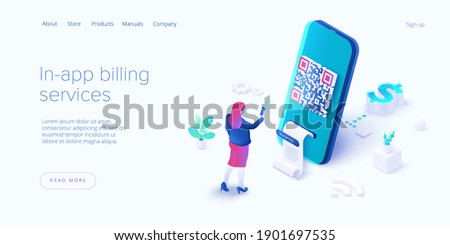 In-app billing service in isometric vector illustrations. Mobile payment with qr code scan. Cell phone app to pay bills. Web banner template.