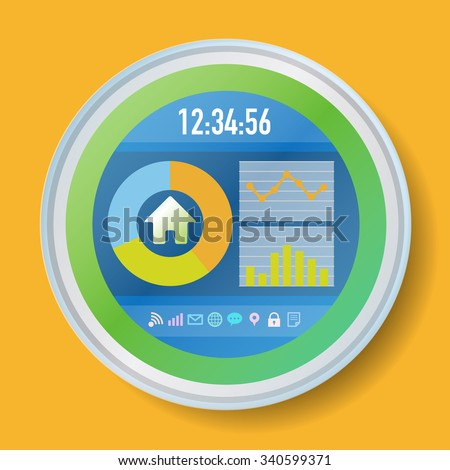 in home display smart home monitor smart meter vector illustration 340599371 shutterstock. Black Bedroom Furniture Sets. Home Design Ideas