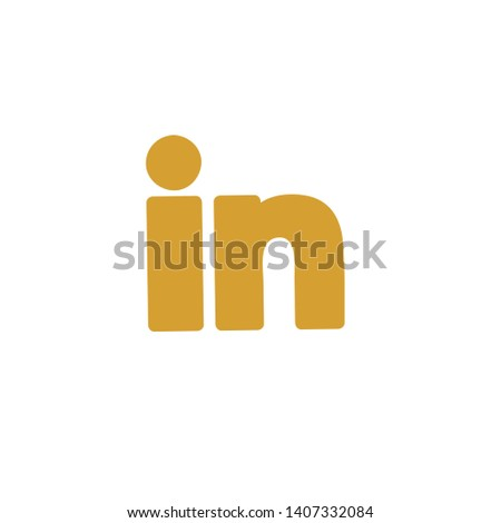 in initial letter for business name with gold colour, logo vector template sign symbol icon LinkedIn American business and employment-oriented service that operates via websites and mobile apps