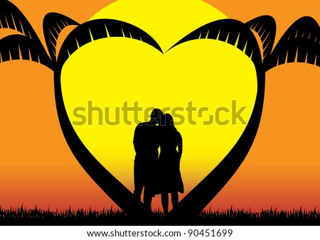 in love couple contemplating sunset below heart shaped palm trees