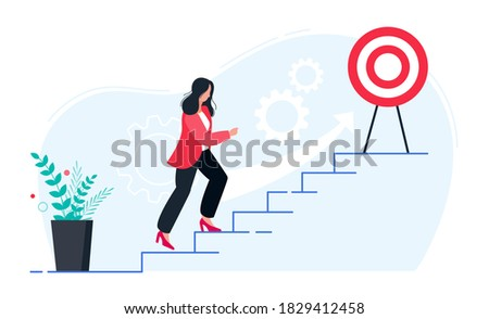 In progress concept. Business woman walking up stairs to their goal. Move up motivation, the path to the target's achievement.