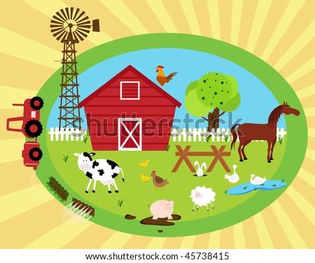 in the farm - stock vector