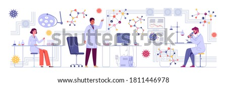 In the laboratory, a group of scientists conducts experiments. A doctor looks through a microscope in a laboratory and conducts a study. Researchers are working on a new generation of vaccines.