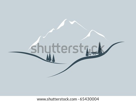 In the mountains - stylized illustration