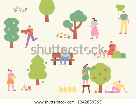 In the park where trees are planted, people enjoy nature in a variety of ways. flat design style minimal vector illustration.