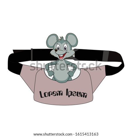 In the picture, the mouse sits in a bag, cheerful mouse, smiling. Drawing of moccasins, drawing for illustration, vector drawing.
