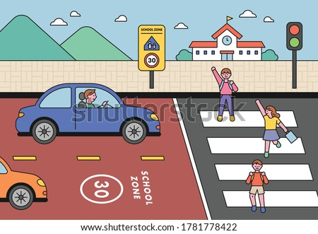 In the school zone, children are crossing a pedestrian crossing with their hands raised. Cars are obeying traffic laws. flat design style minimal vector illustration.