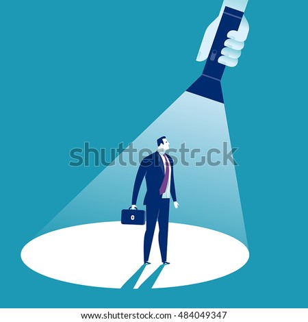In the Spotlight. A hand holding a flashlight pointing at standing manager. Business vector concept illustration