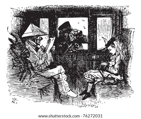 In the Train - Original book engraving. All this time the Guard was looking at her, first through a telescope, then through a microscope, and then through an opera-glass. At last he said...