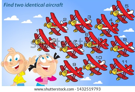 In the vector illustration puzzle, where children must find two identical aircraft