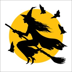 In this drawing the witch flying on a broom against the full moon is represented.