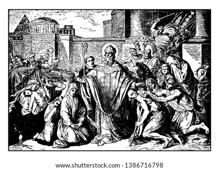 In this picture shows Saint Boniface was the Apostle of the Germans, born Winfrid or Wynfrith, was a missionary who propagated Christianity in the Frankish Empire during, vintage line drawing