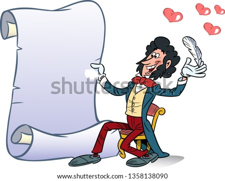 In vector illustration, the poet writes love poems. The illustration can be used for postcards on Valentine's Day, invitations, there is a place for a text block.
