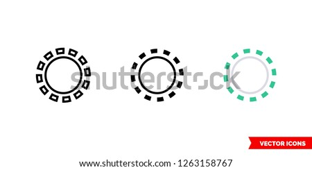 Inactive state icon of 3 types: color, black and white, outline. Isolated vector sign symbol.
