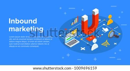 Inbound marketing vector business illustration in isometric design. Online or permission marketing background.