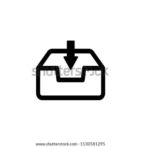 Inbox icon,vector illustration. Flat design style. vector inbox icon illustration isolated on White background, inbox icon Eps10. inbox icons graphic design vector symbols.