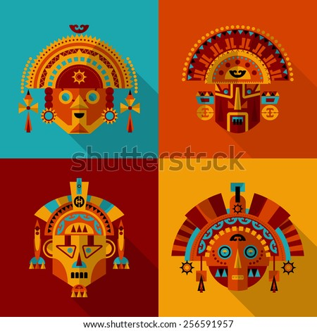 inca masks set 1 vector