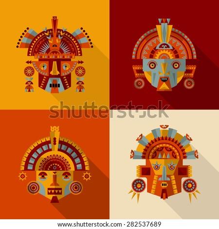 inca masks set 2 vector