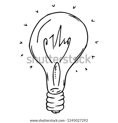 Incandescent lamp hand drawn. Vector illustration of an incandescent lamp. Incandescent lamp icon.