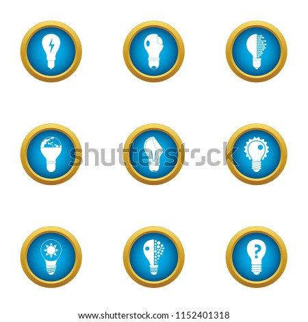 Incandescent lamp icons set. Flat set of 9 incandescent lamp vector icons for web isolated on white background