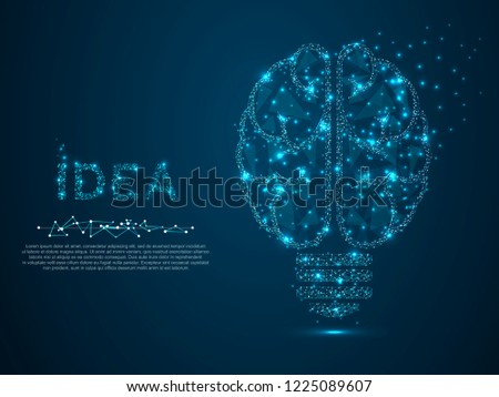 Incandescent lamp. Low poly, polygonal wireframe Vector illustration with scattered particles and light effects on a dark blue background. Idea with geometry triangle. Brain silhouette lamp bulb icon