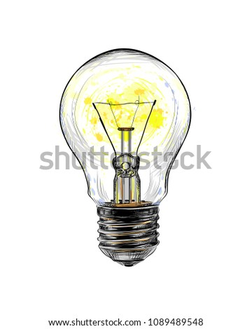 Incandescent light bulb glowing from a splash of watercolor, hand drawn sketch. Vector illustration of paints
