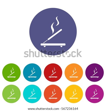 incense sticks set icons in