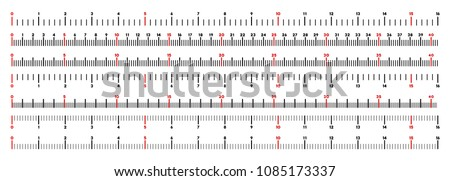 Inch and centimeter ruler vector illustration on a white background. Designed for engineering applications.