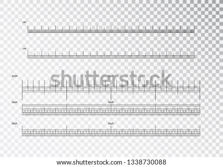 Inch and metric rulers. Centimeters and inches measuring scale cm metrics indicator. Precision measurement centimeter icon tools of measure size indication ruler tools. Vector isolated