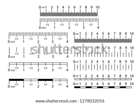 Inch and metric rulers set. Centimeters and inches measuring scale cm metrics indicator. Precision measurement centimeter icon tools of measure size indication ruler tools.Vector illustration EPS10