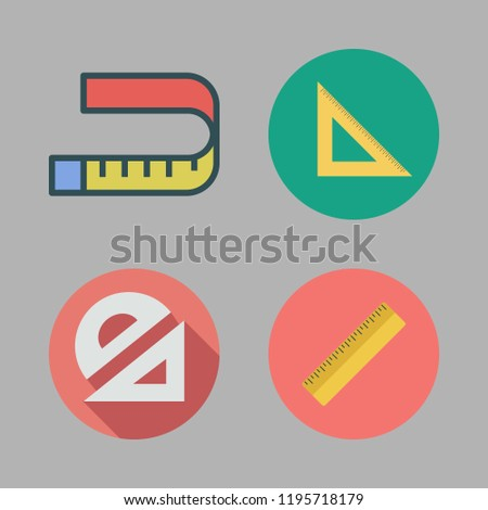 inch icon set. vector set about set square, ruler, measuring tape and protractor icons set.