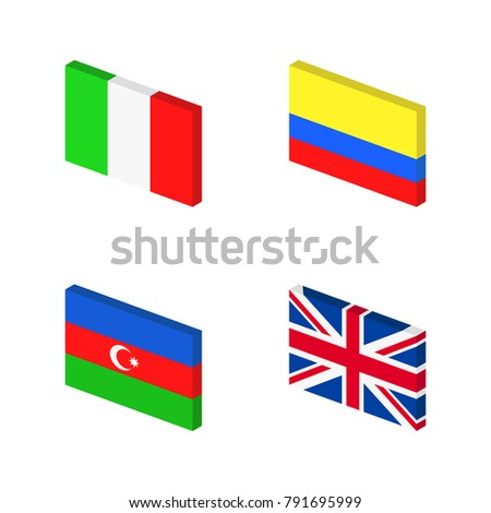 Inclined flags set #791695999